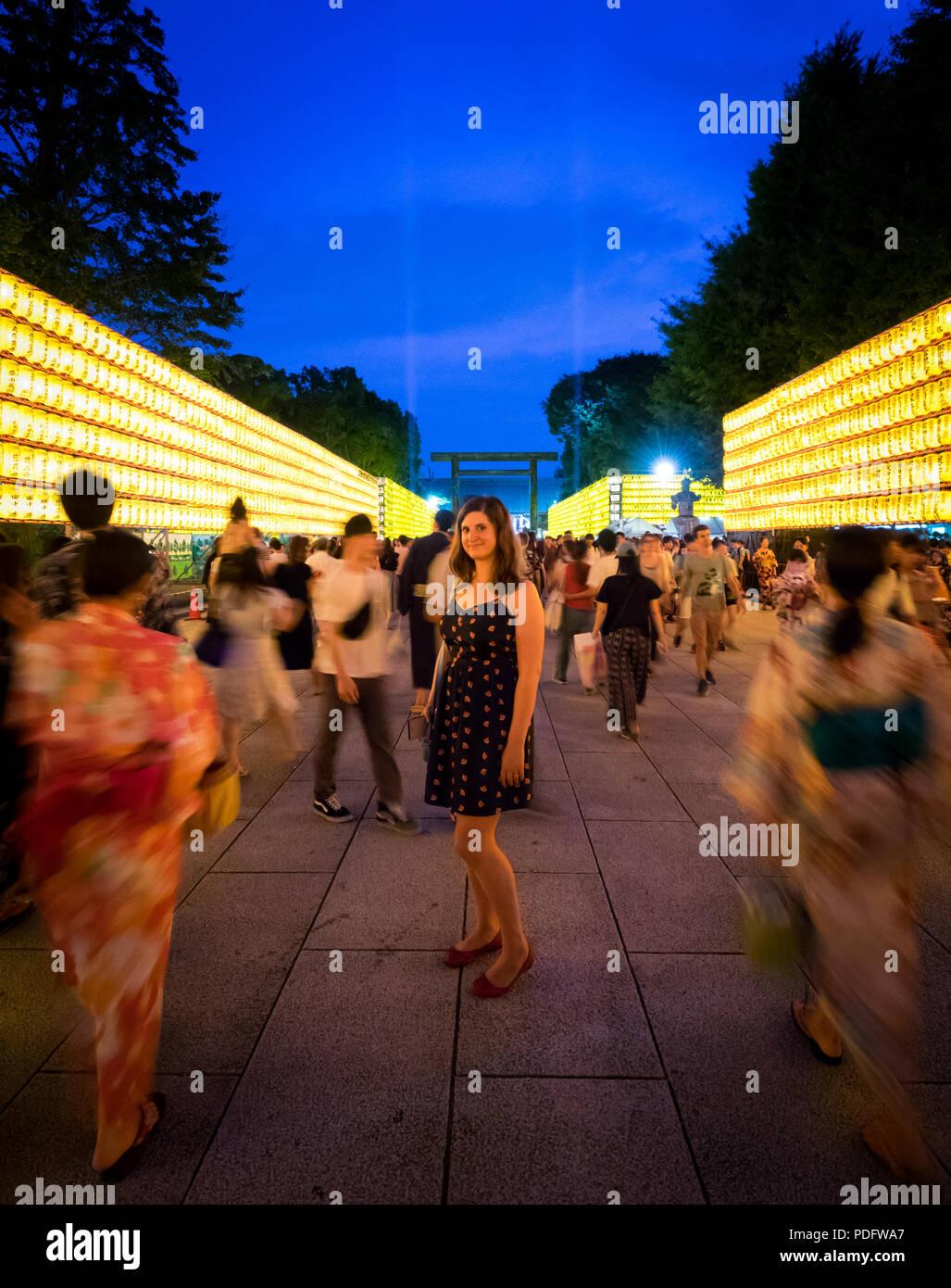 Crowds at the 2018 Mitama Matsuri (Mitama Festival), a famous Japanese Obon (Bon) summer festival. Yasukuni Shrine, Ichigaya, Tokyo, Japan. - Stock Image