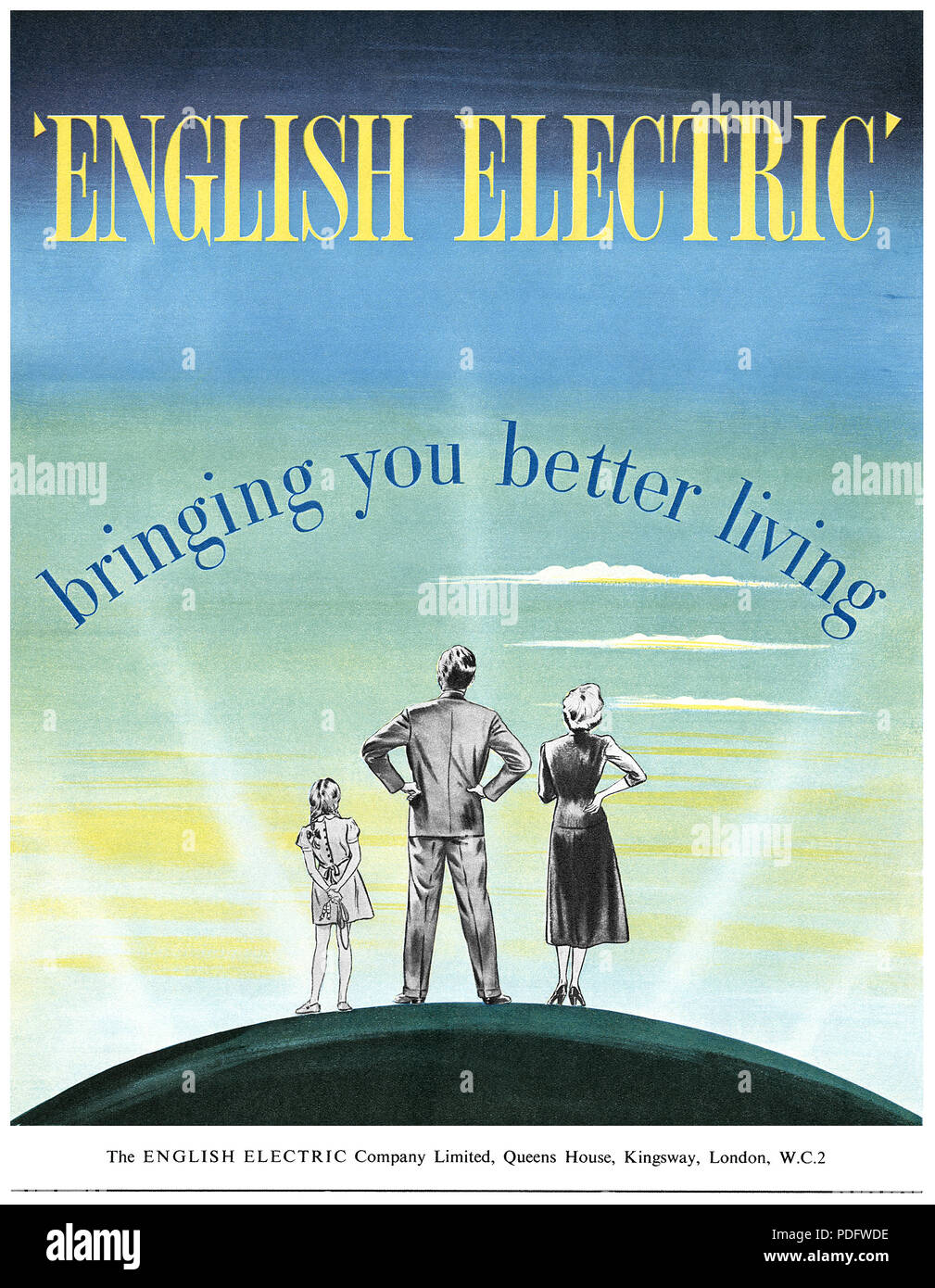 1951 British advertisement for The English Electric Company Limited. - Stock Image