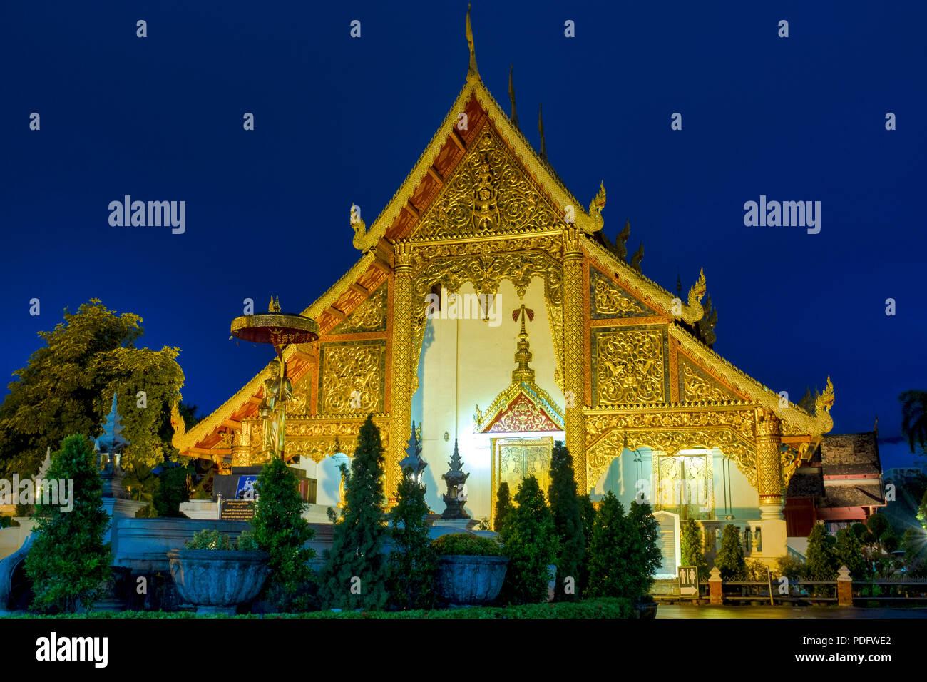 Wihan Luang of Wat Phra Singh, Chiang Mai, Thailand Stock Photo