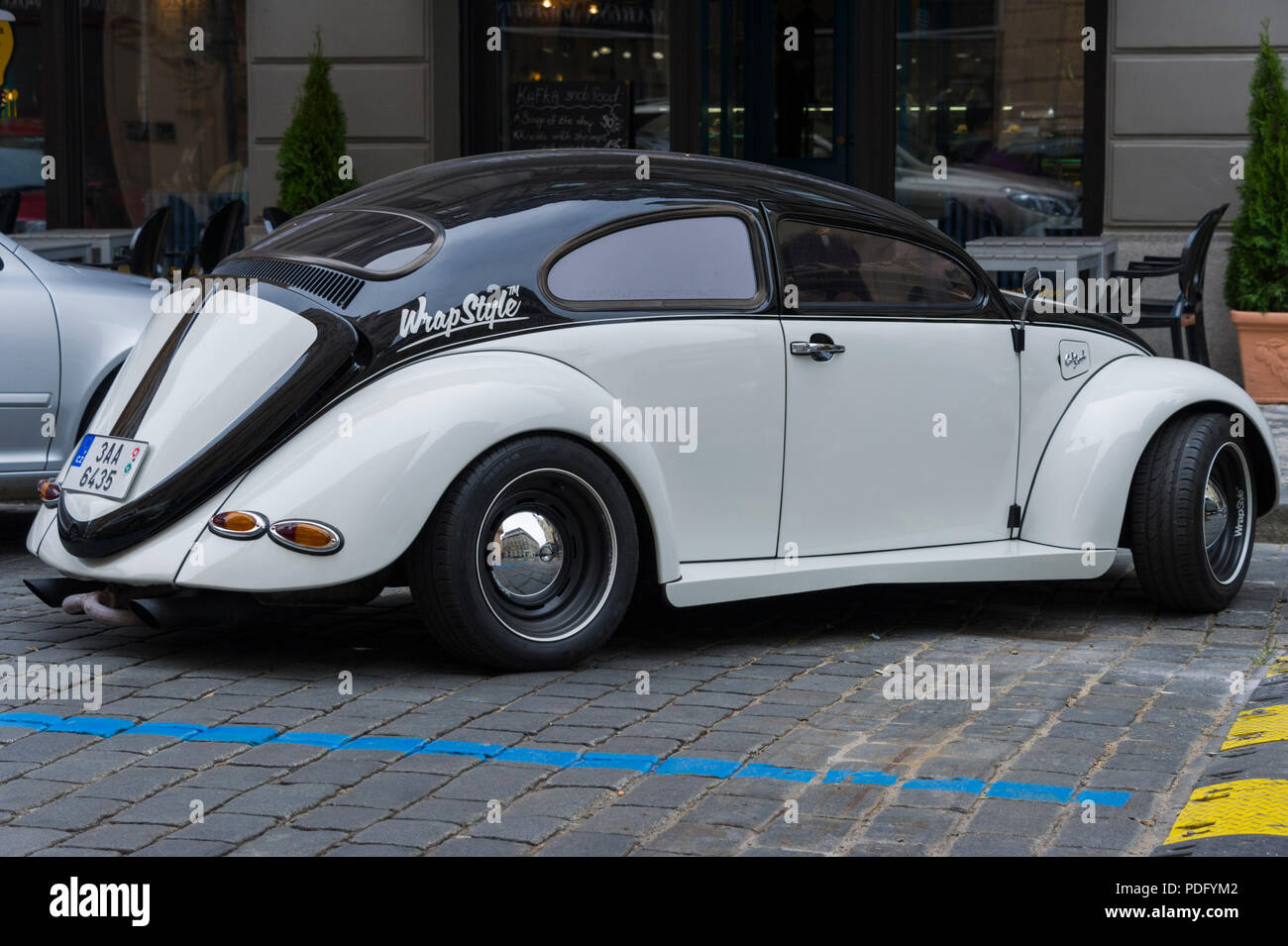 Customised Black And White Volkswagen Beetle Parked On A Street In Prague Stock Photo Alamy