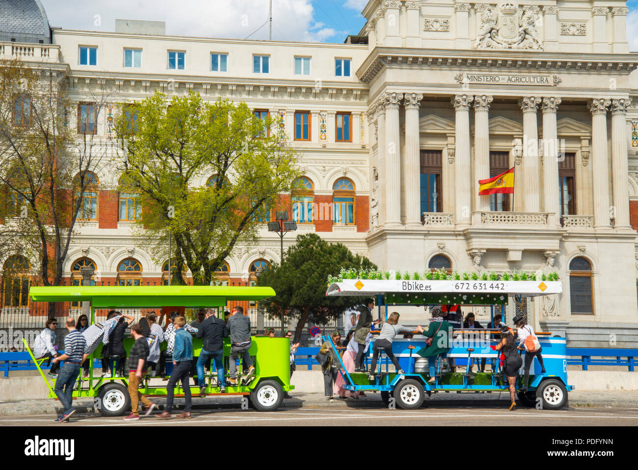 Two bike bars. Atocha street, Madrid, Spain. - Stock Image