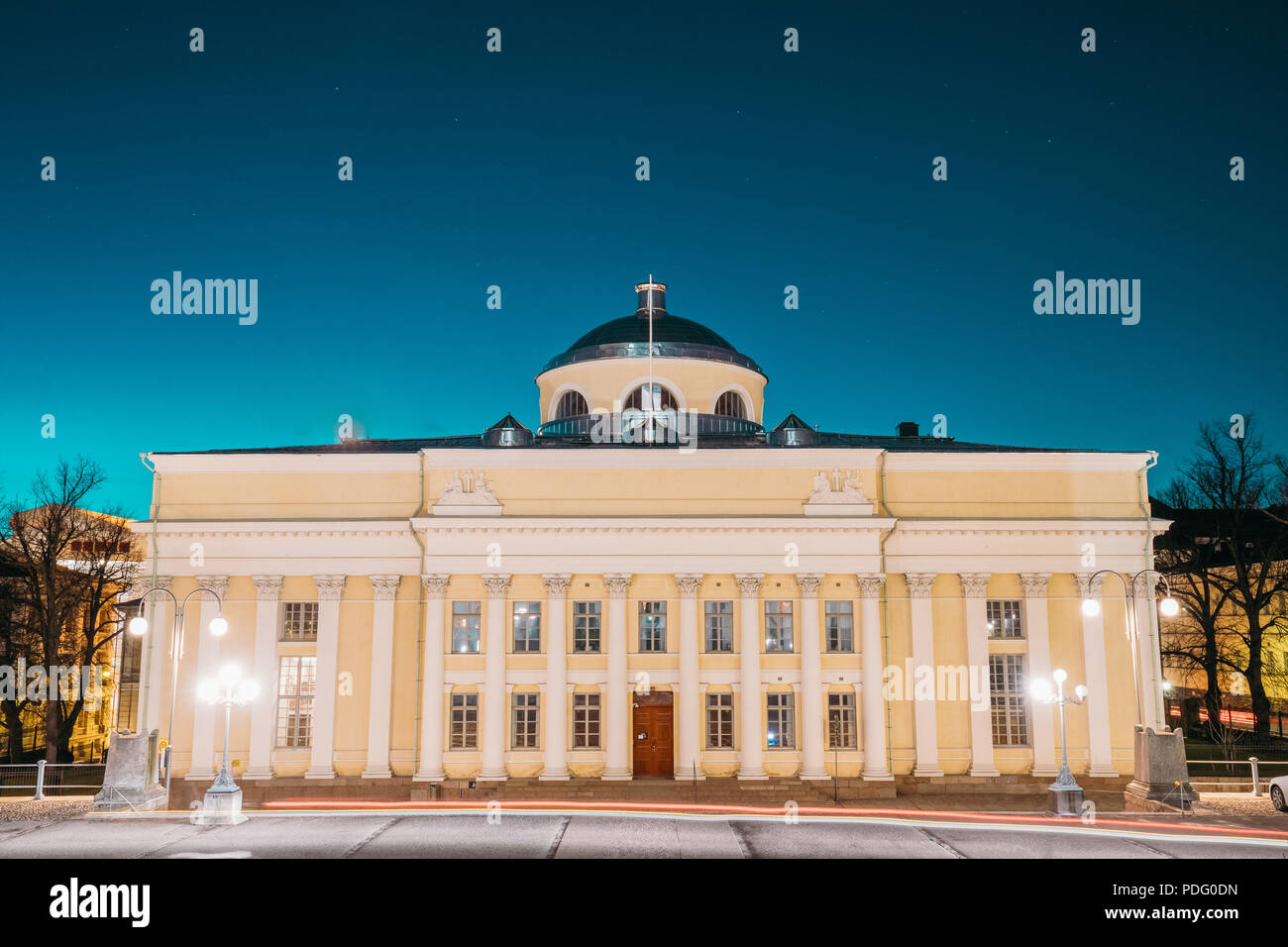 Helsinki, Finland. The National Library Of Finland In Lighting At Evening Or Night Illumination. Administratively The Library Is Part Of The Universit - Stock Image