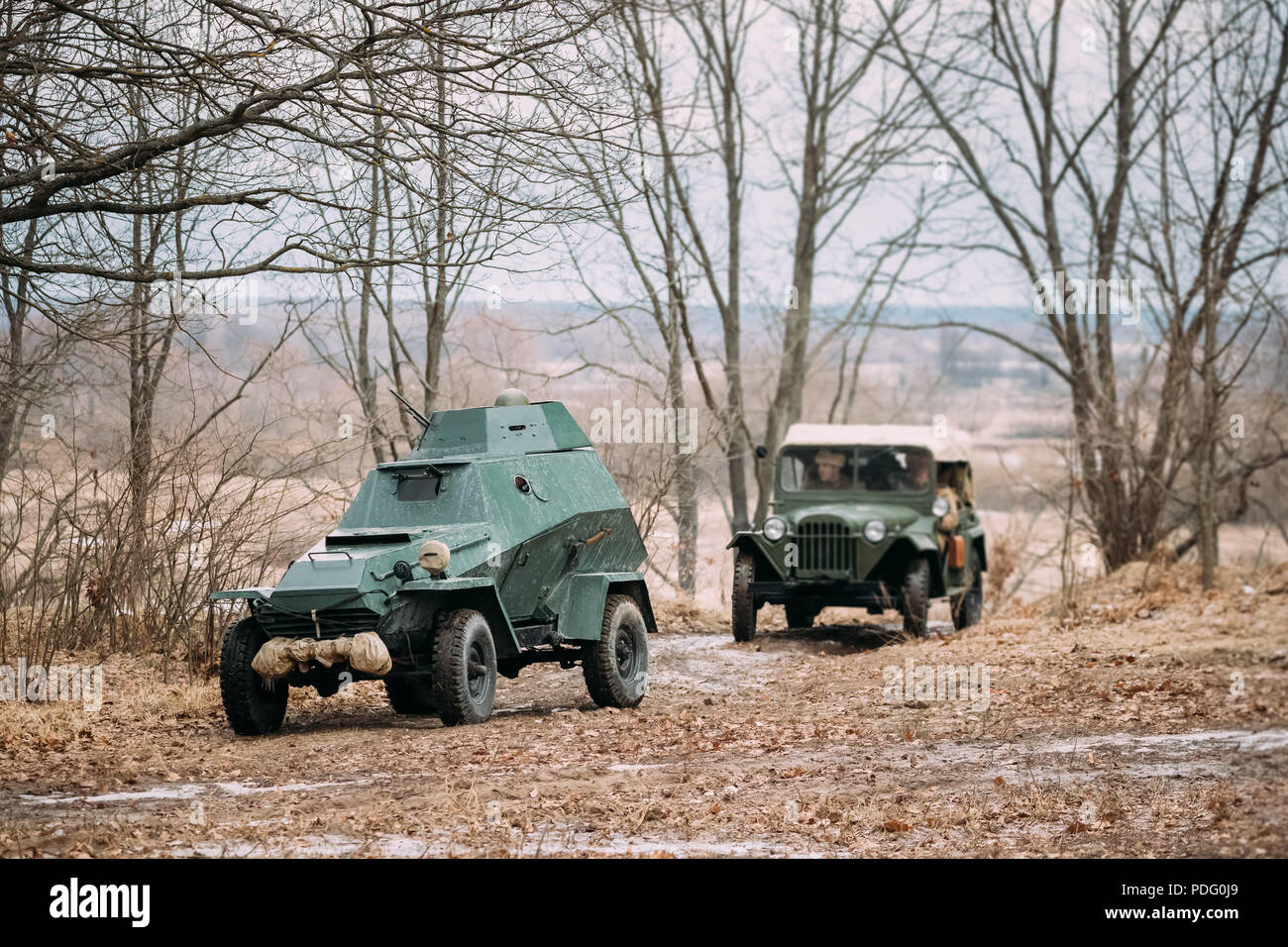 Russian Armored Soviet Scout Car Of World War Ii And Four Wheel Drive Army Truck Car Of World War Ii Parking In Autumn Forest Stock Photo Alamy