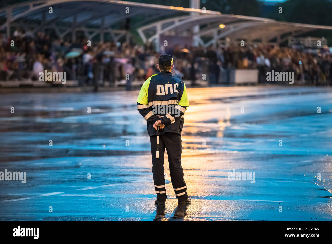 Minsk, Belarus. Traffic Road Police Officer Policeman Inspector Regulates Traffic On Rehearsal Of Parade Before Celebration Of Independence Day Of Bel - Stock Image