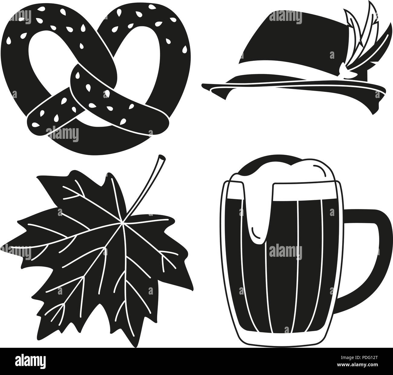 Black white oktoberfest 4 elements silhouette set - Stock Vector