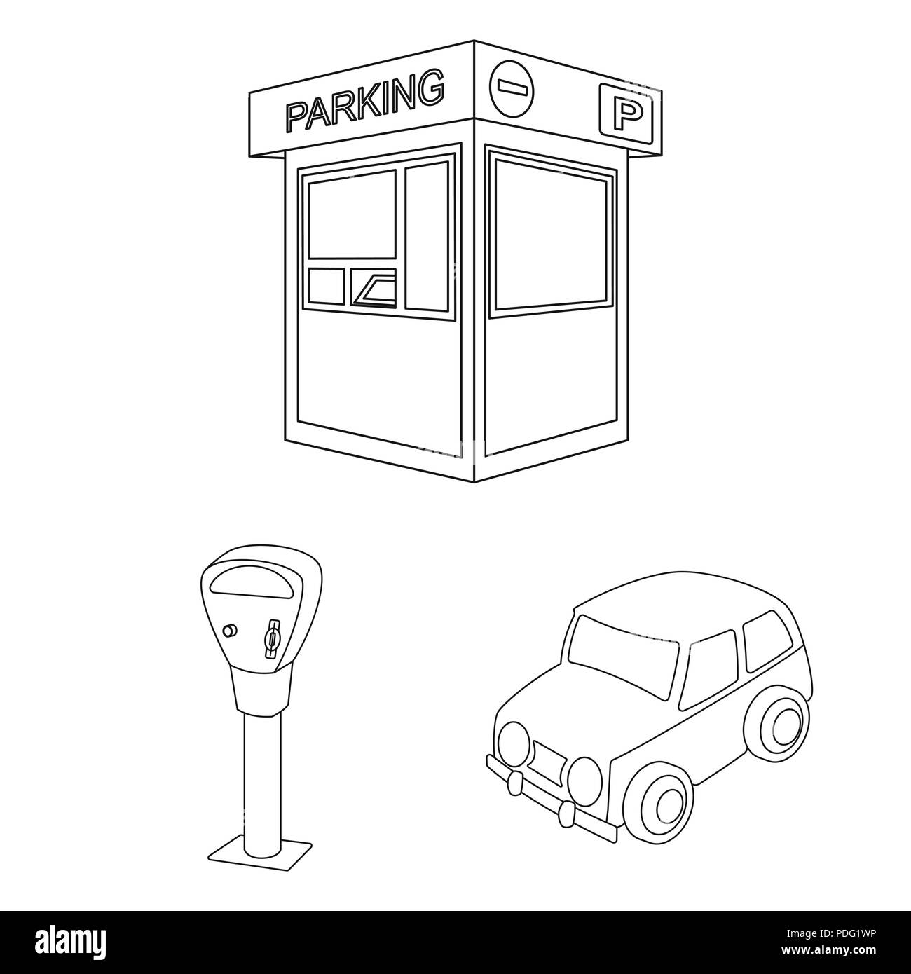 Parking For Cars Outline Icons In Set Collection For Design