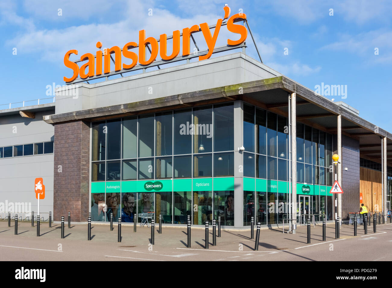 A branch of Sainsbury's containing a Specsavers opticions in King's Lynn, Norfolk. Stock Photo