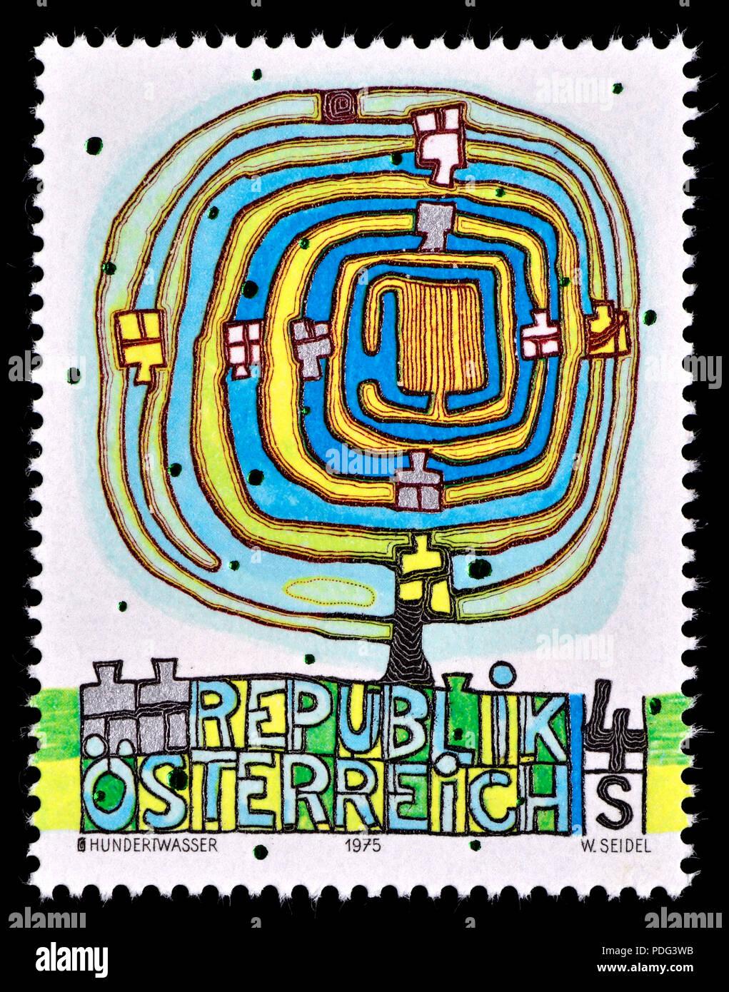 Austrian postage stamp (1975) : Design by Friedensreich Hundertwasser (born Friedrich Stowasser: