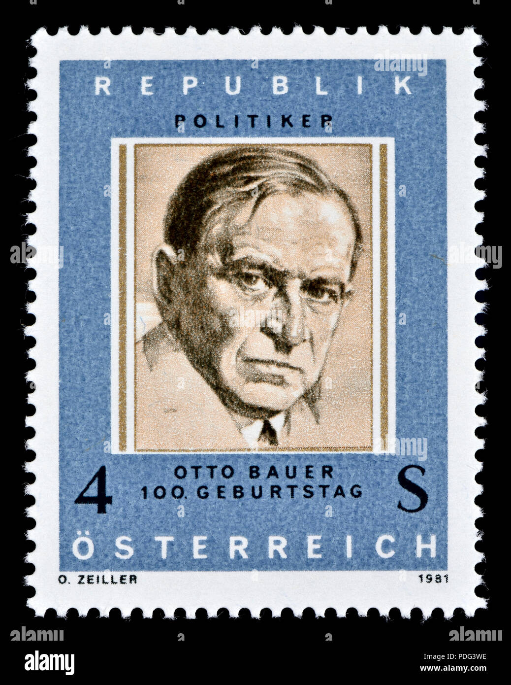 Austrian postage stamp (1981) : Otto Bauer (1881 – 1938) Austrian Social Democrat considered one of the leading thinkers of the left-socialist Austro- - Stock Image