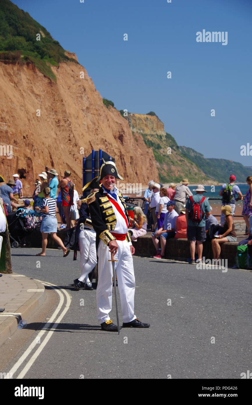 Outdoor Pantomime, Period Costume Fancy Dress Play. Sidmouth Esplanade, at the Summer Folk Festival. East Devon, UK. August, 2018. Stock Photo