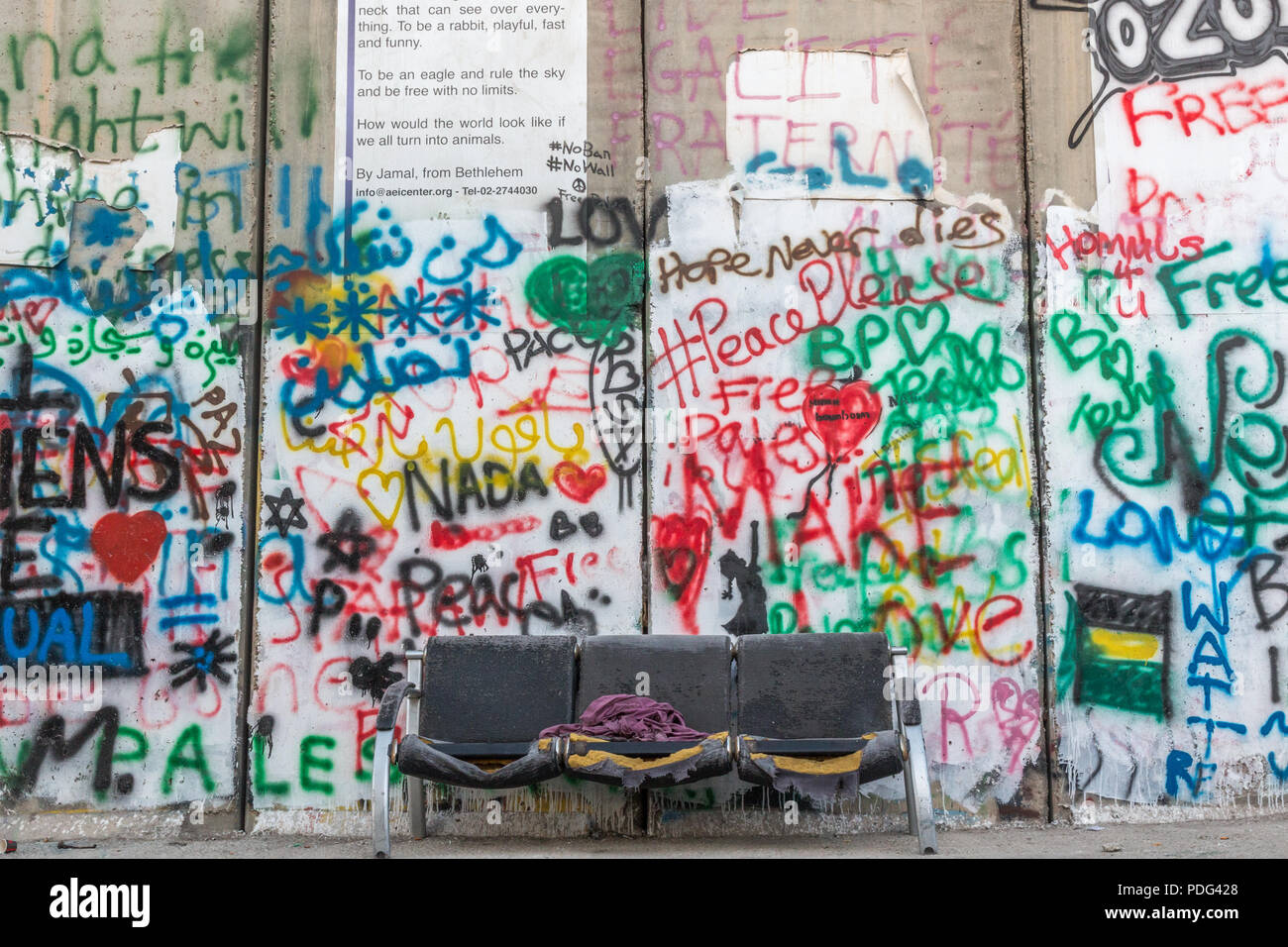 Graffiti on the Separation barrier  / Peace wall in  Bethleham, Israel, Palestine, Middle East. October 2017 - Stock Image