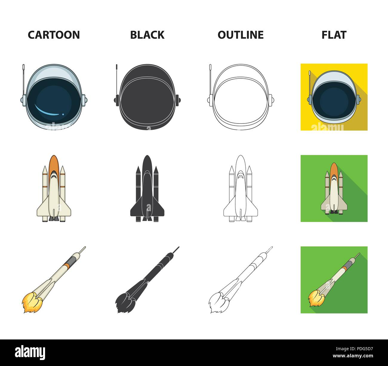 a spaceship in space a cargo shuttle a launch pad an astronaut helmet space technology set collection icons in cartoonblackoutlineflat style ve PDG5D7 a spaceship in space, a cargo shuttle, a launch pad, an astronaut