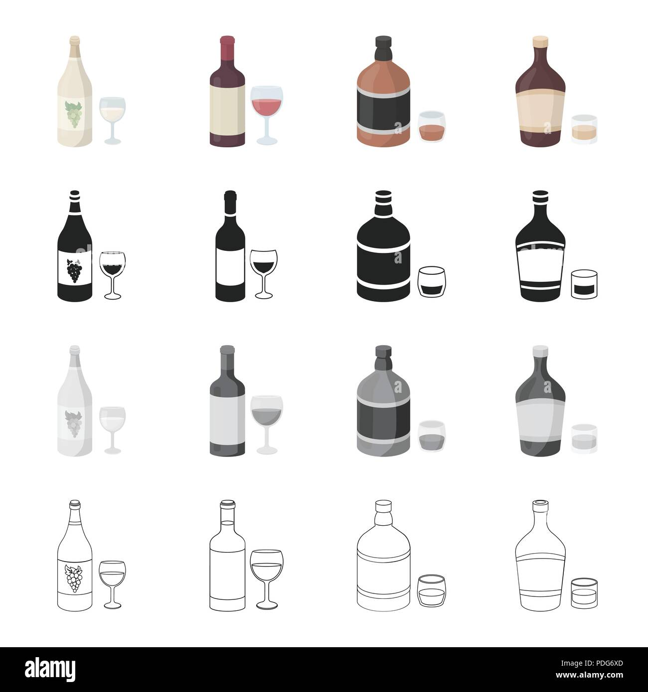 White And Red Grape Wine Strong Alcohol Whiskey Liqueur Alcohol Set Collection Icons In Cartoon Black Monochrome Outline Style Vector Symbol Stock Stock Vector Image Art Alamy