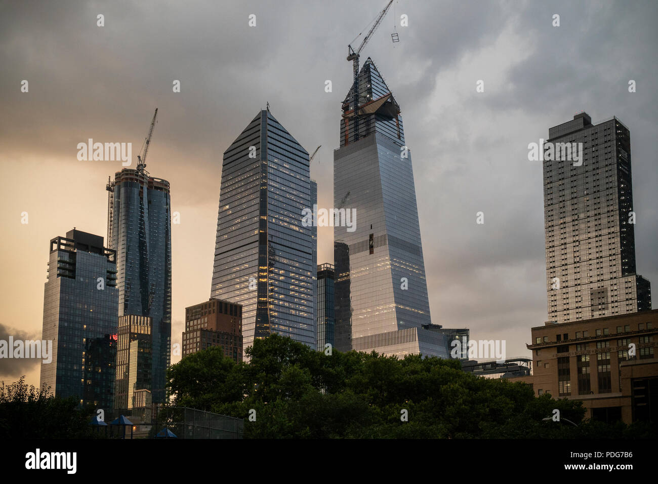 10 Hudson Yards, center left, 30 Hudson Yards, center right, and other development around Hudson Yards in New York on Tuesday, August 7, 2018. (© Richard B. Levine) - Stock Photo