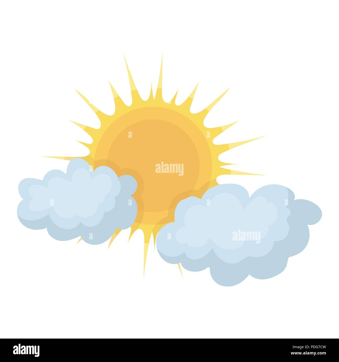 cloudy weather icon in cartoon style isolated on white
