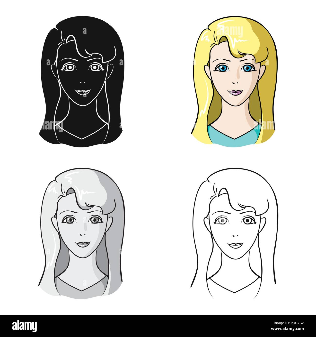 Avatar Girl With White Hairavatar And Face Single Icon In Cartoon