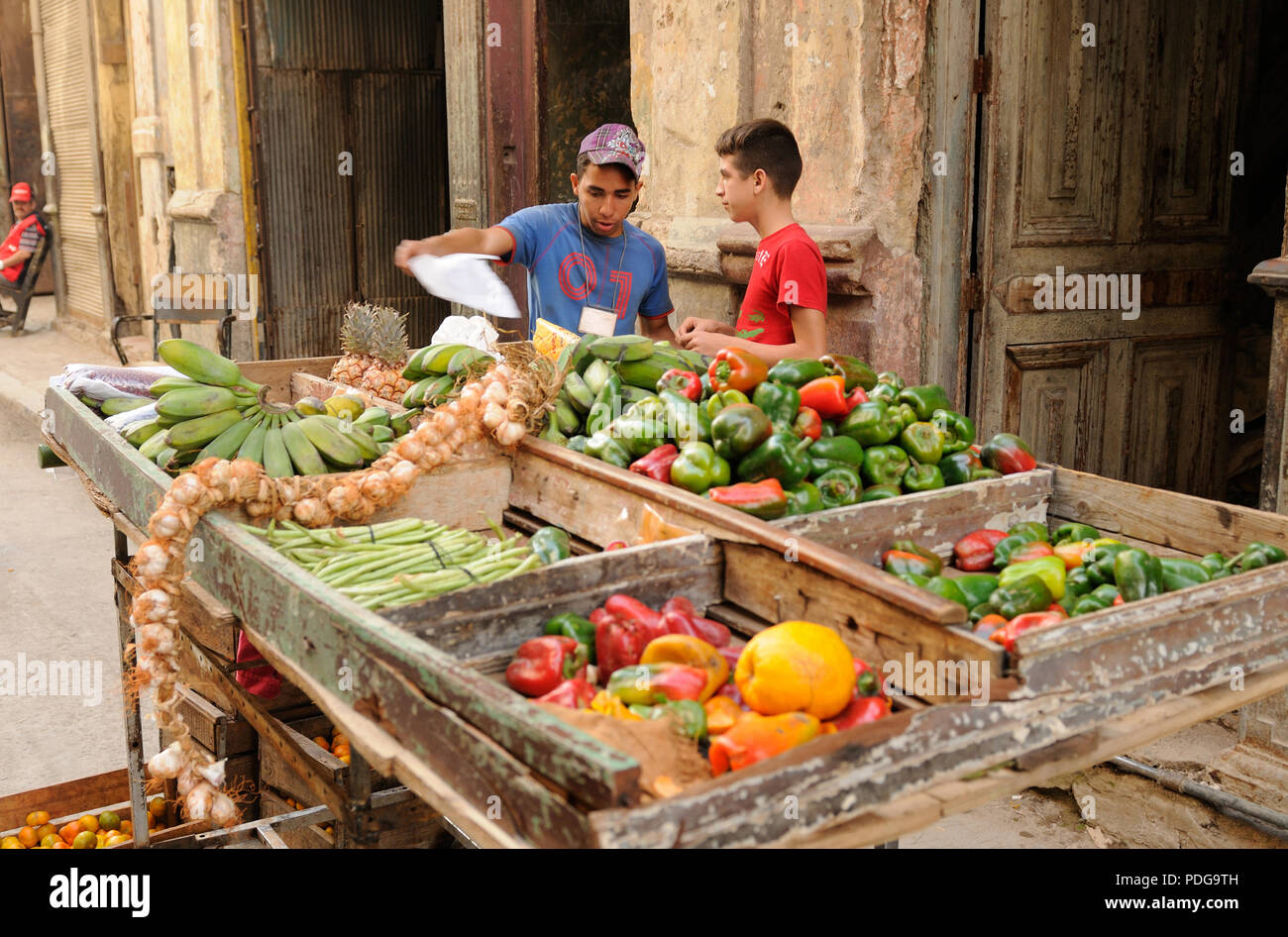 Cuba: Young street-market-traders in Havanna-City. Stock Photo