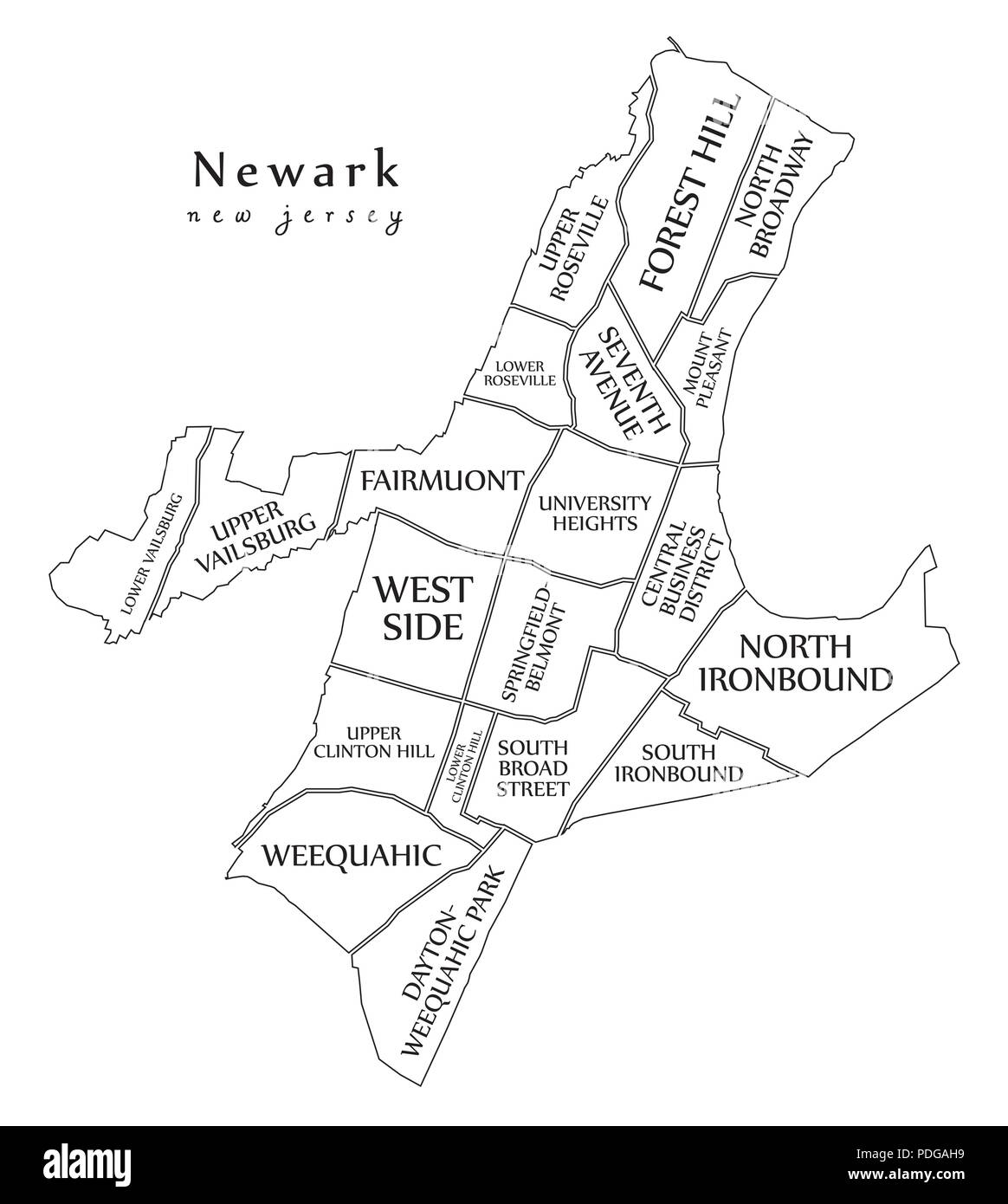 Modern City Map Newark New Jersey City Of The Usa With