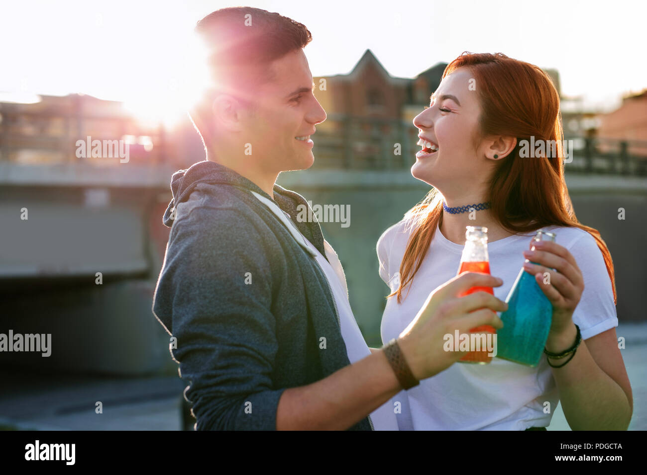 Happy nice couple enjoying their date So delicious. - Stock Image
