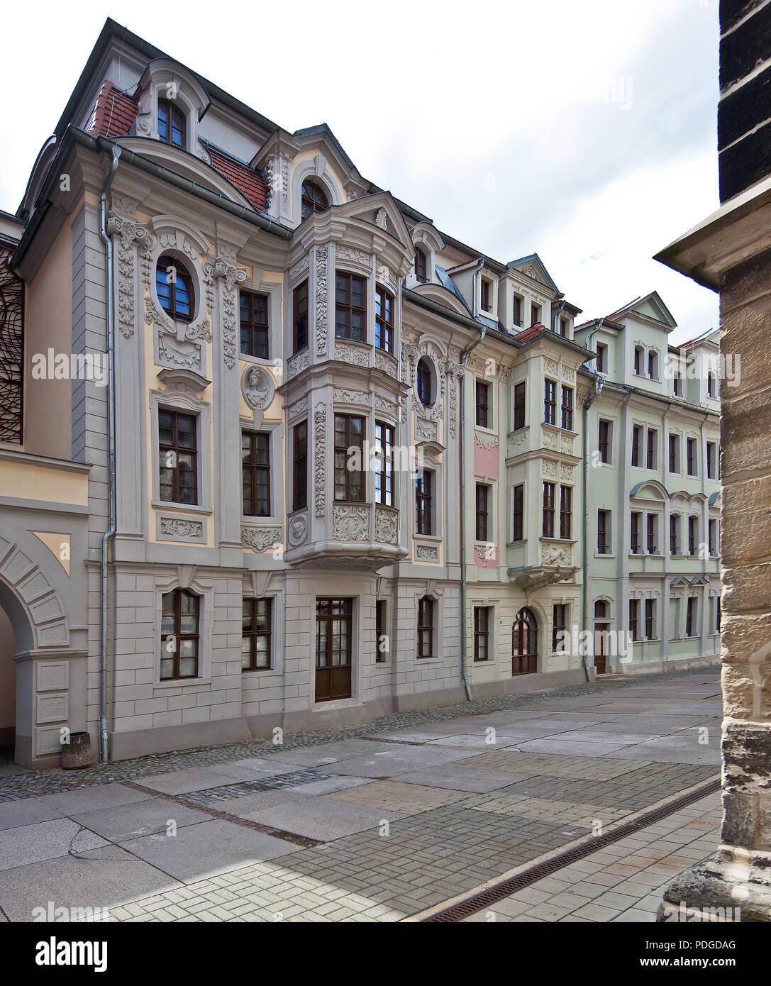 Sogenannte Kavaliershäuser mit aufwändiger Stuckdekoration, erbaut ab 1720 Stock Photo