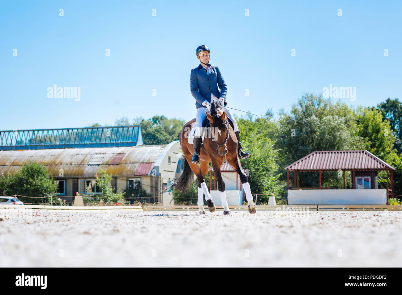 Athletic horse man feeling nice while riding his horse on weekend - Stock Image