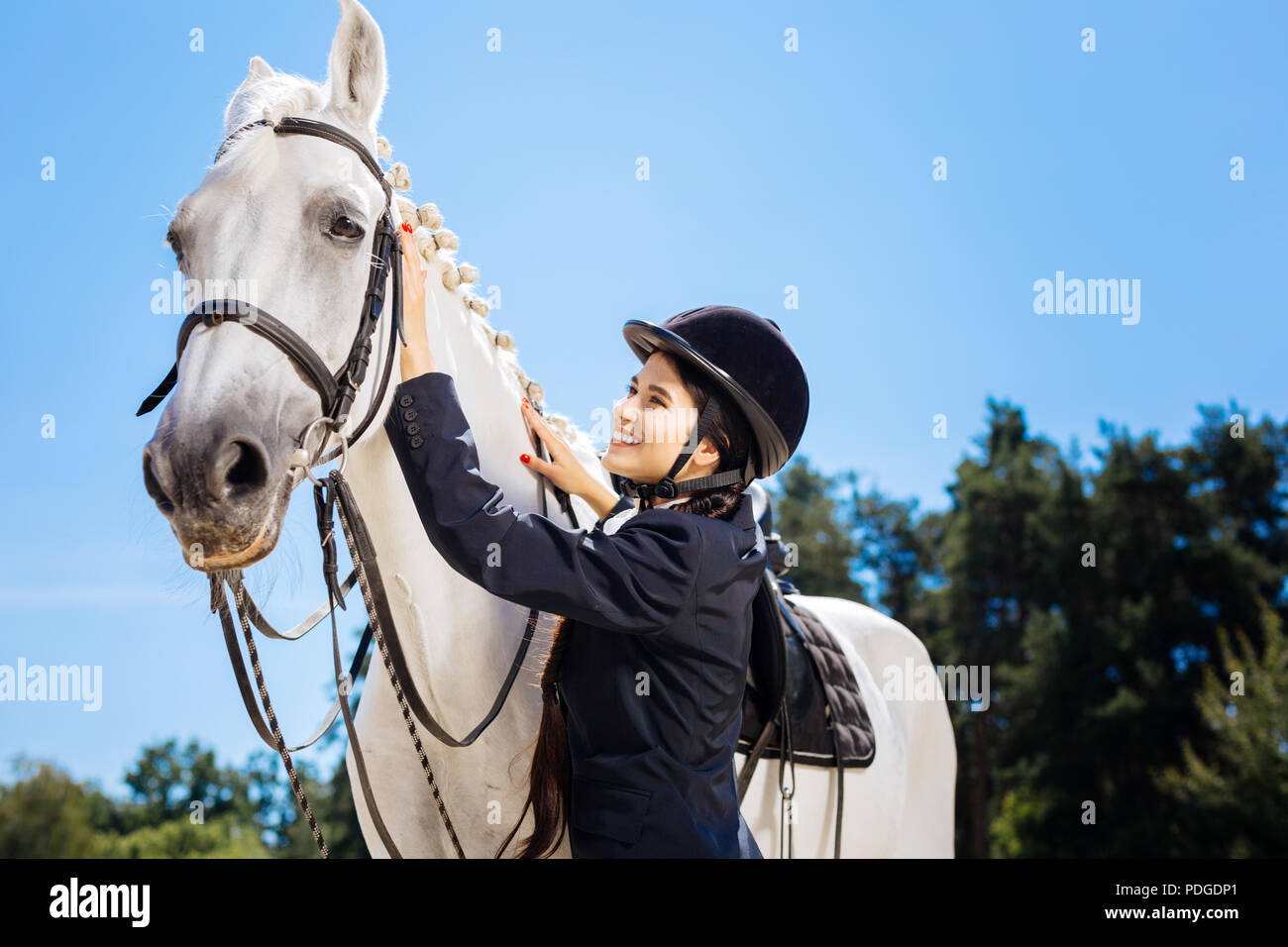 Appealing horsewoman smiling while looking at her gentle white horse - Stock Image