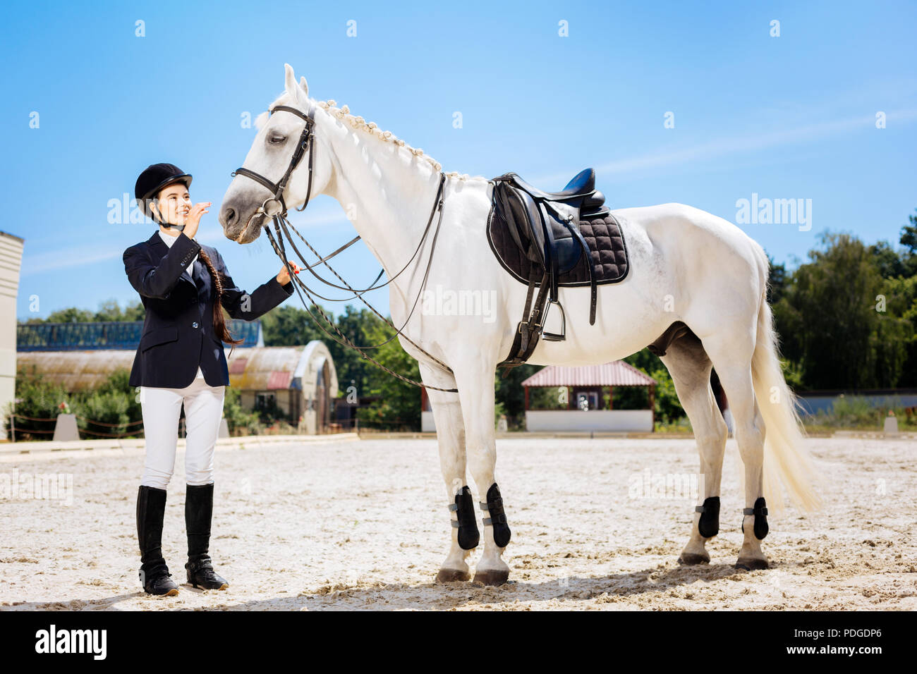 Female rider with long braid wearing special clothes - Stock Image