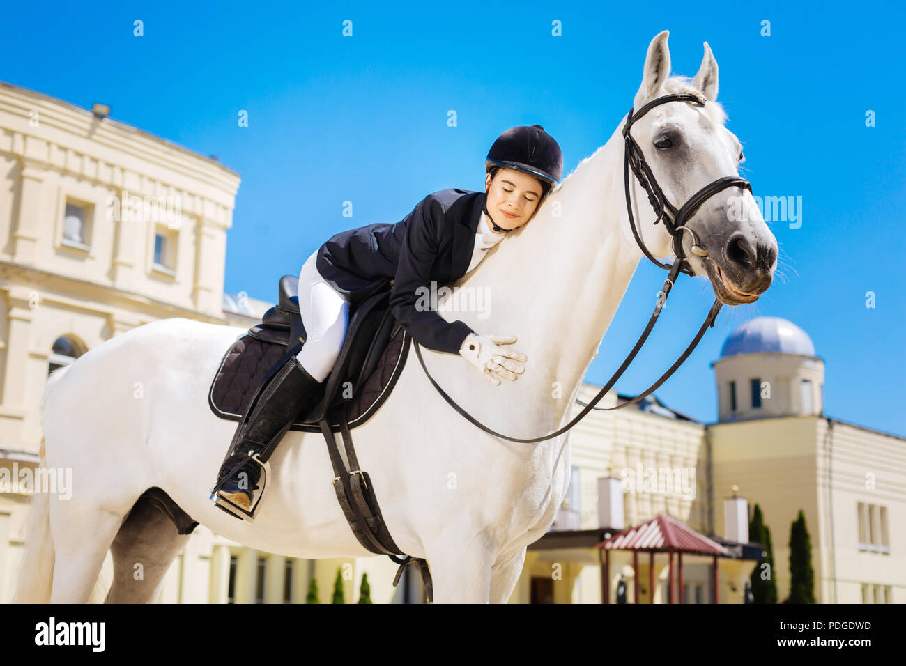 Businesswoman fond of equestrianism hugging her white horse - Stock Image