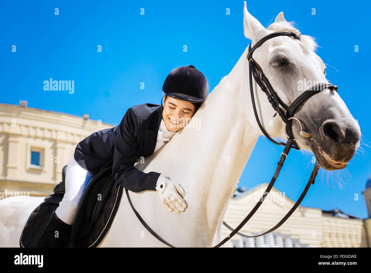 Smiling female rider loving her white horse greatly - Stock Image