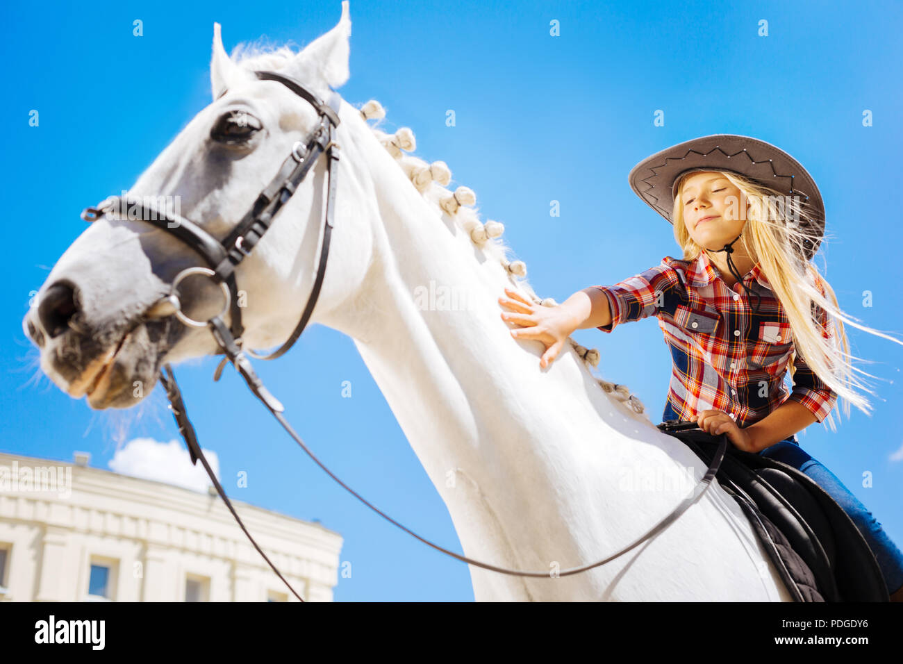 Blonde-haired schoolgirl loving her hobby while sitting on horse - Stock Image