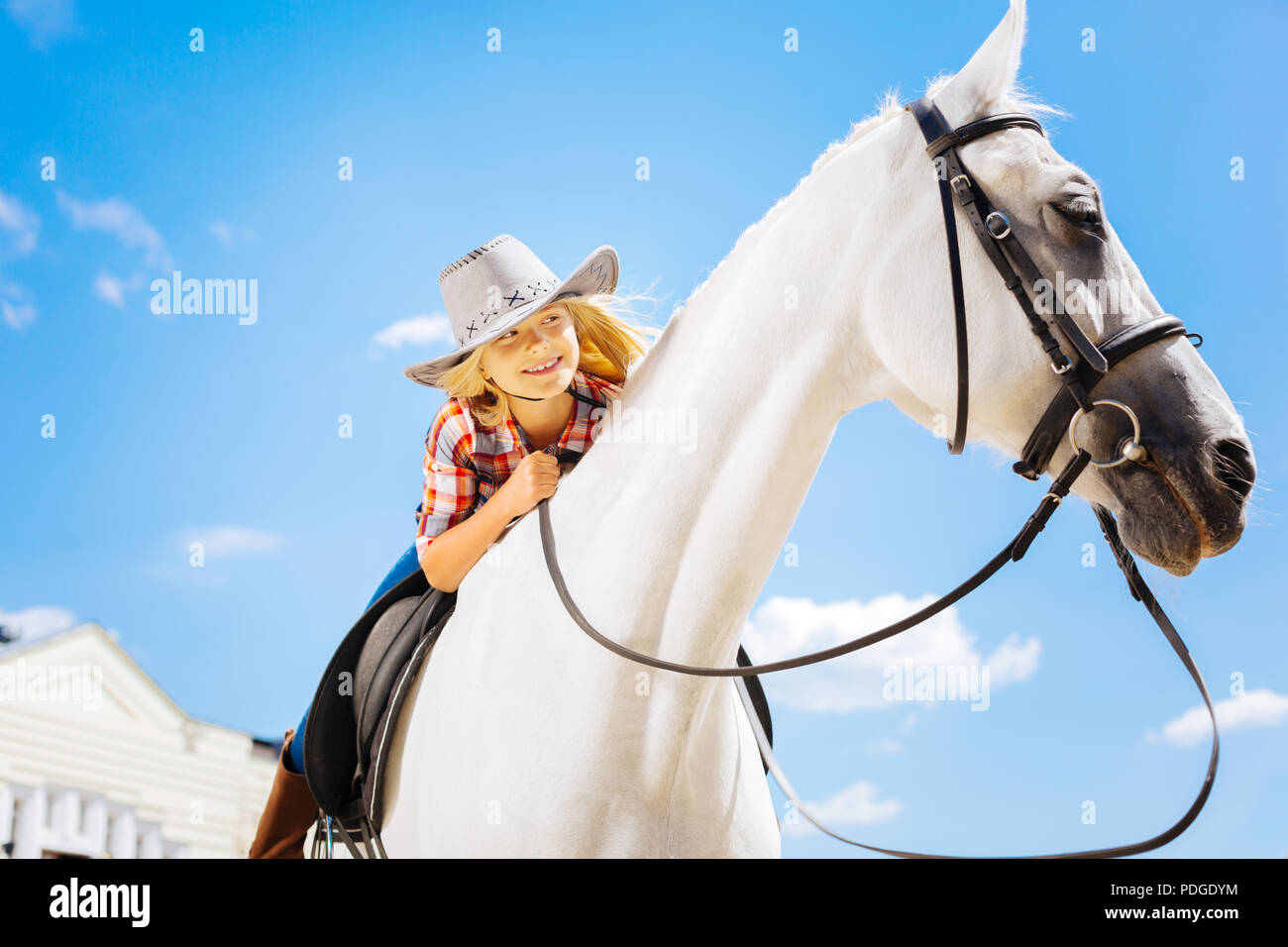 Blonde-haired cute girl feeling amazing white riding horse - Stock Image