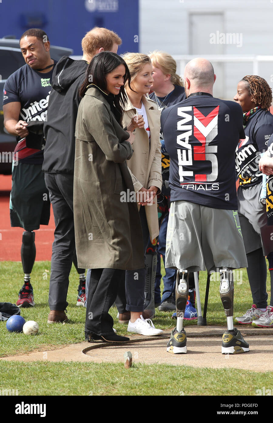 Prince Harry and Ms Meghan Markle as they attend the UK Team Invictus Games trials held at Bath University Sports training village in Somerset. Stock Photo