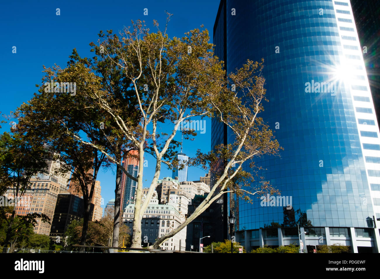 View from Battery Park in fall with reflections on buildings- Manhattan, Newy York City, USA - Stock Image