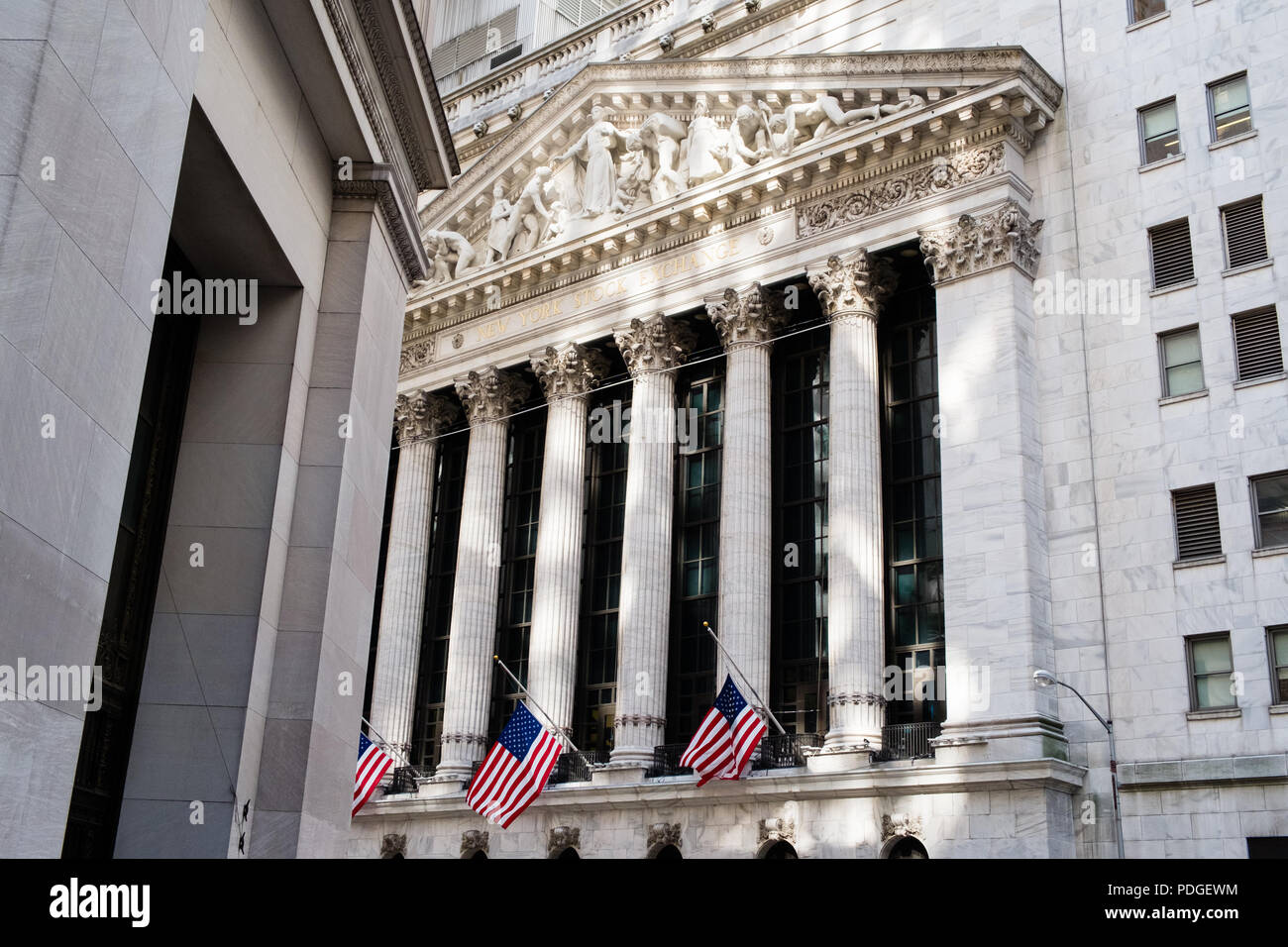 Portico of New York Stock Exchange looking up - Stock Image