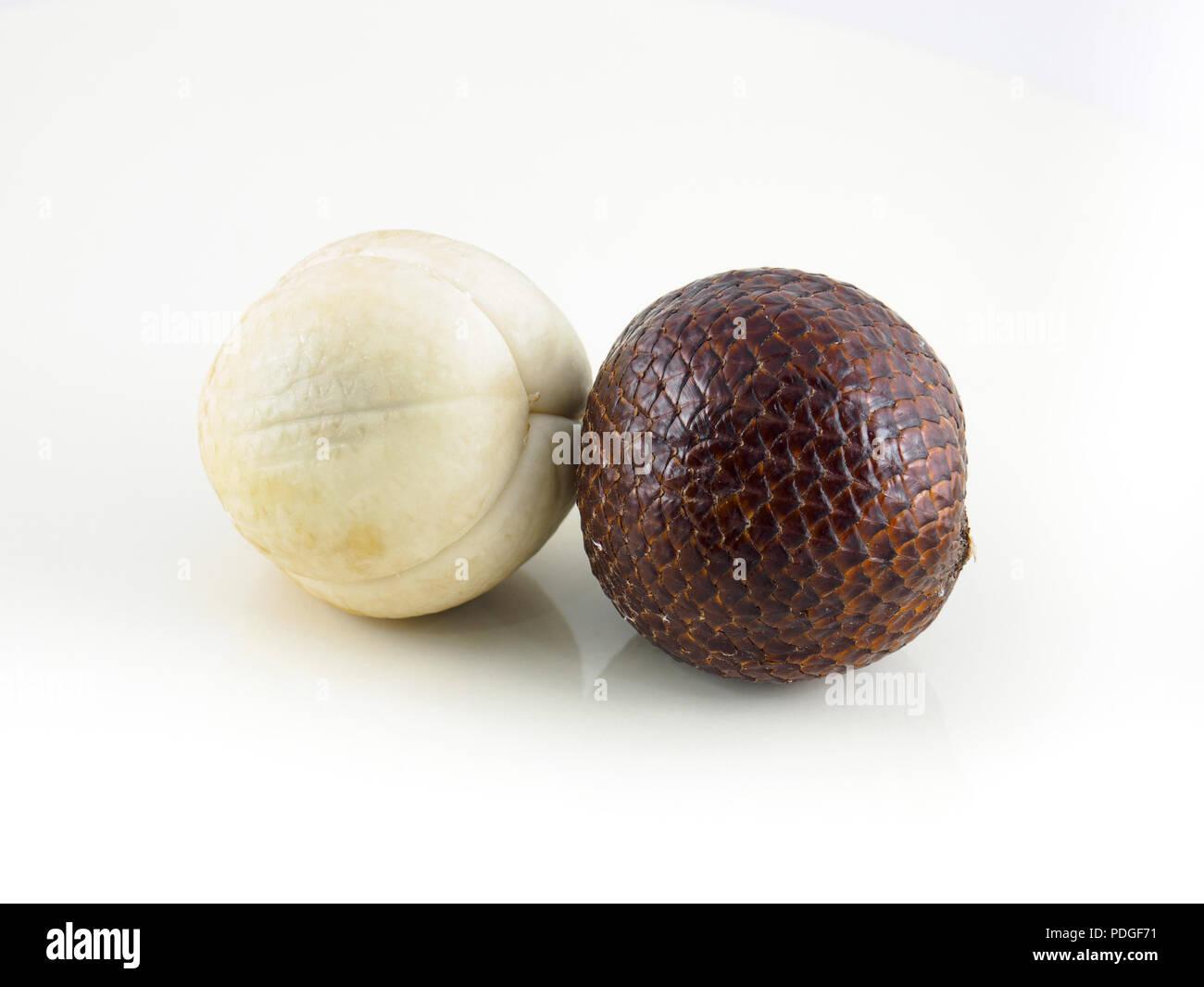 Indonesian salak fruit or snake fruit isolated on white background - Stock Image