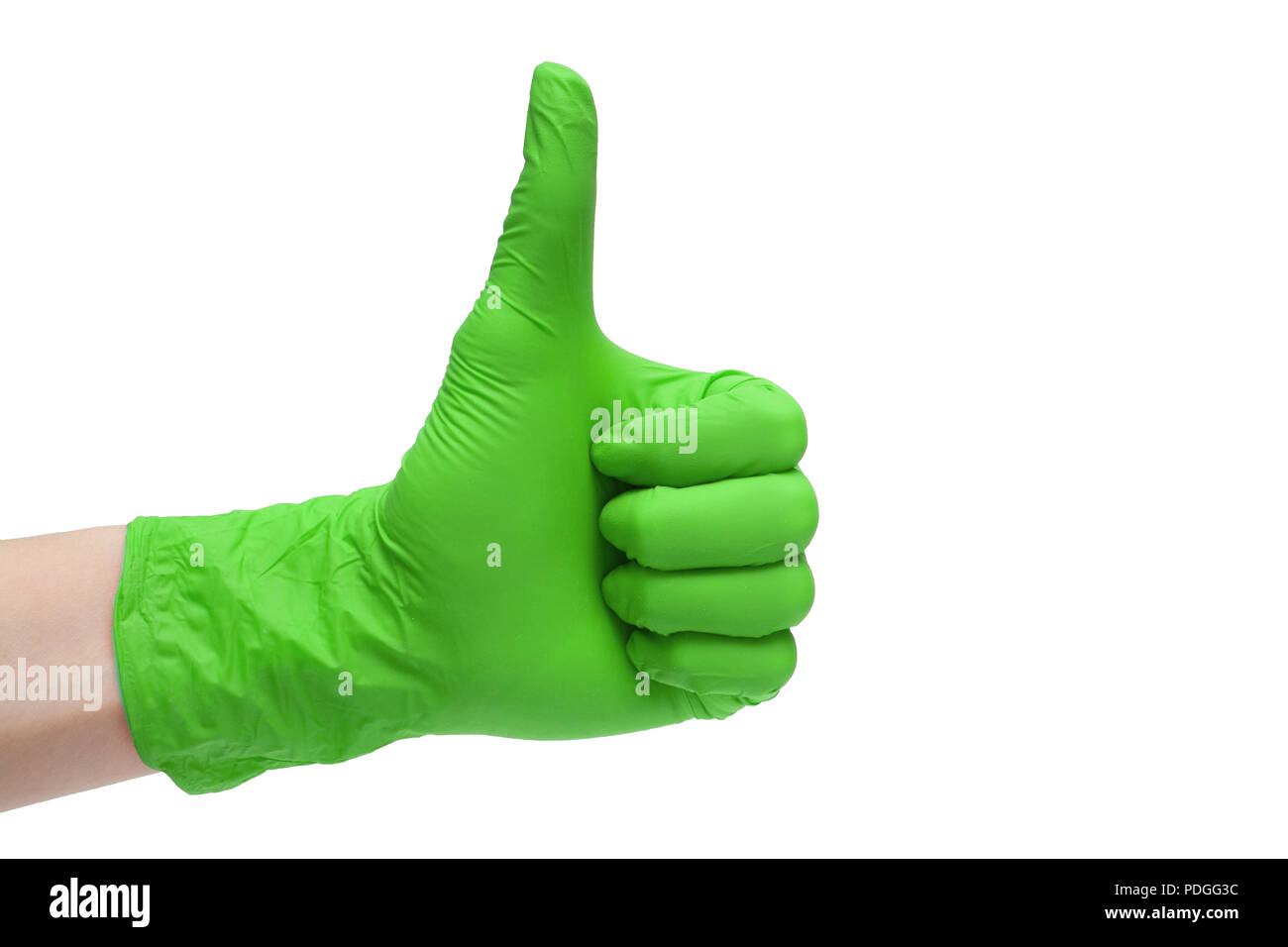 Like sign icon made of green medical gloves. Hand finger up symbol. Thumbs up gesture. Isolated on white background - Stock Image
