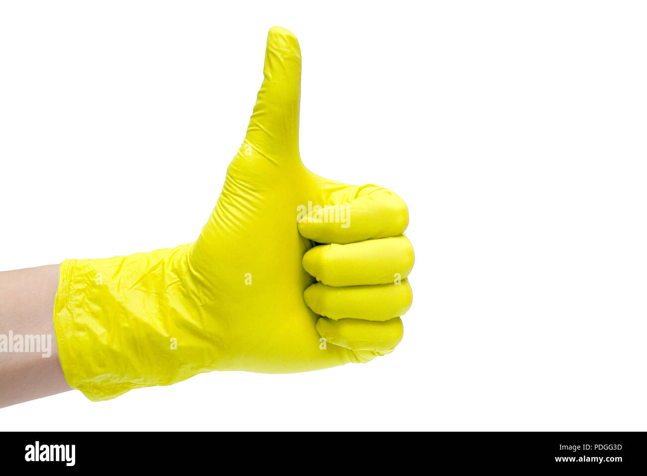 Like sign icon made of yellow medical gloves. Hand finger up symbol. Thumbs up gesture. Isolated on white background - Stock Image