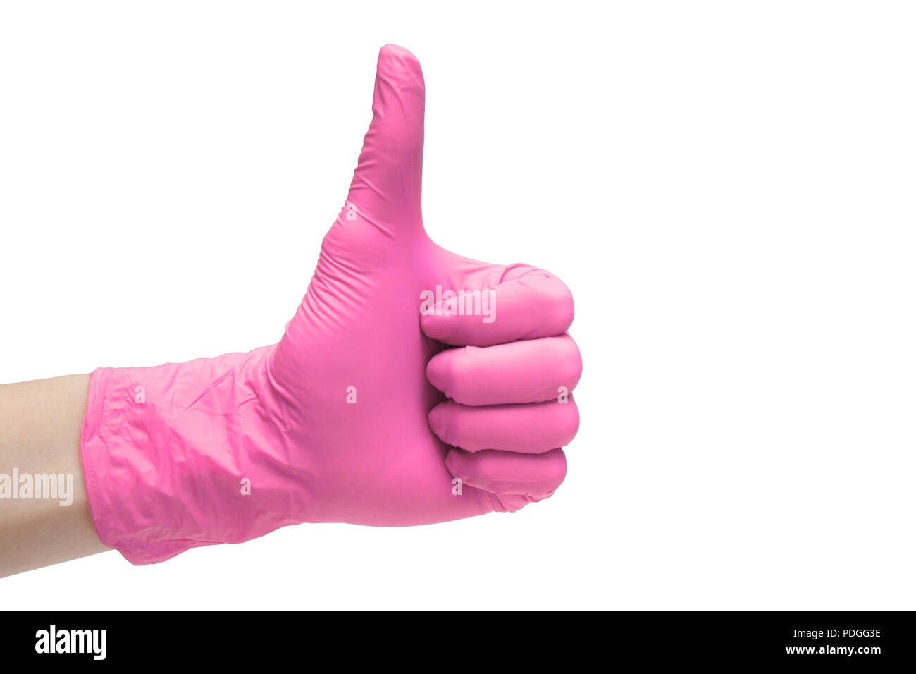 Like sign icon made of pink medical gloves. Hand finger up symbol. Thumbs up gesture. Isolated on white background - Stock Image