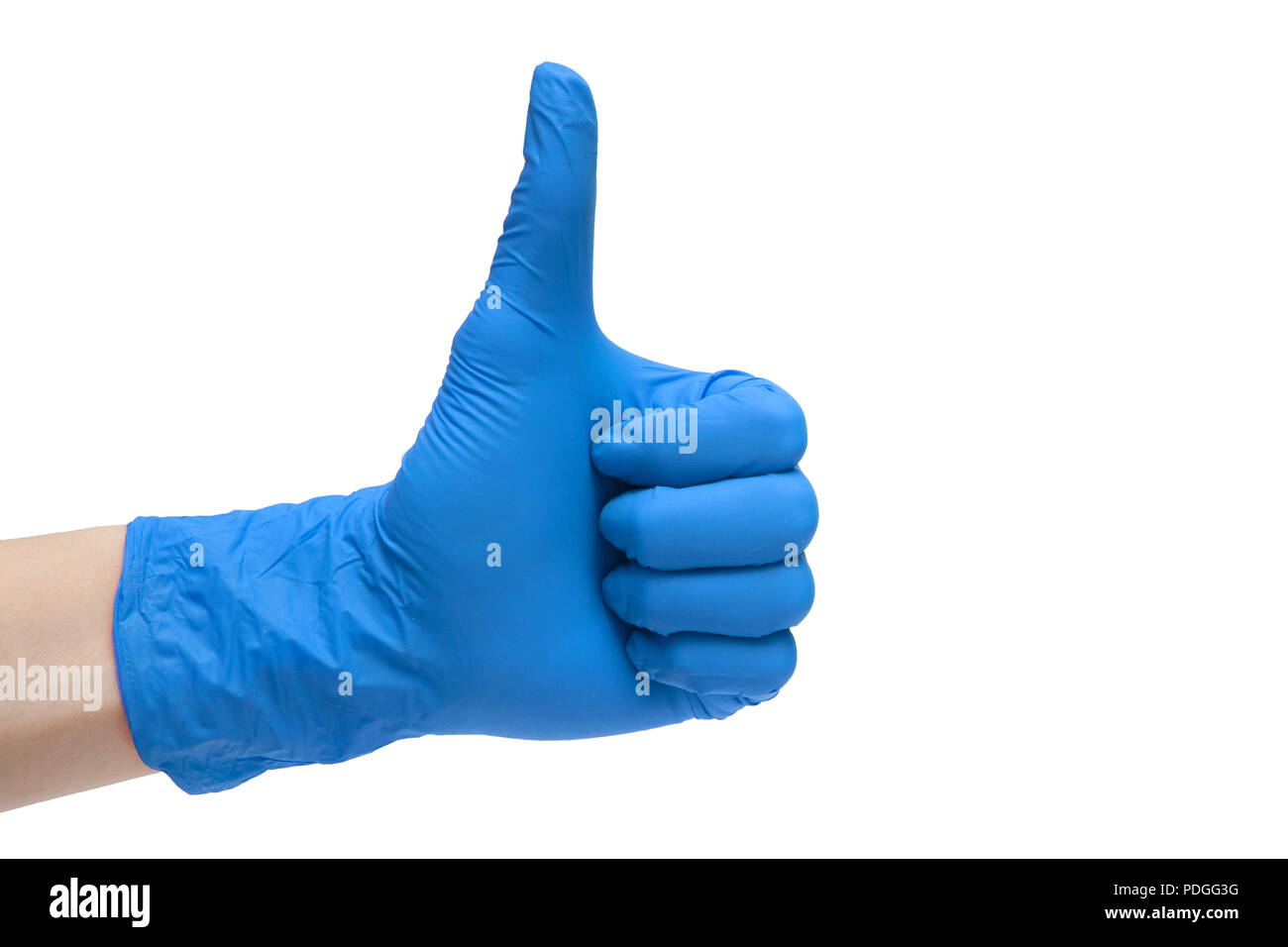 Like sign icon made of blue medical gloves. Hand finger up symbol. Thumbs up gesture. Isolated on white background - Stock Image