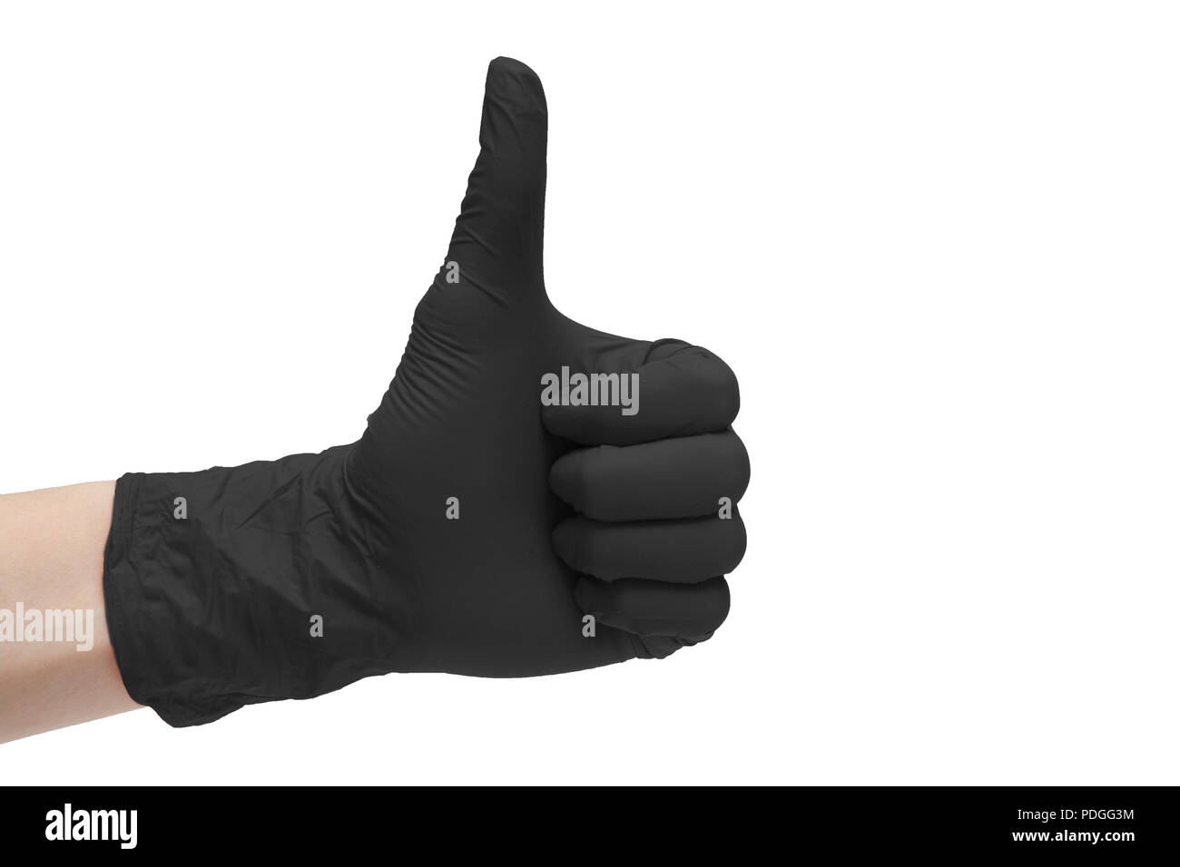 Like sign icon made of black medical gloves. Hand finger up symbol. Thumbs up gesture. Isolated on white background - Stock Image