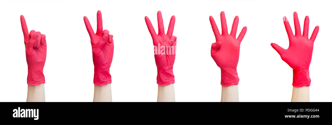 Signs made of red medical gloves. Fingers symbol one two three four five. Isolated on white. Healthy, vitamins, vaccination, medical store, pharmacy,  - Stock Image