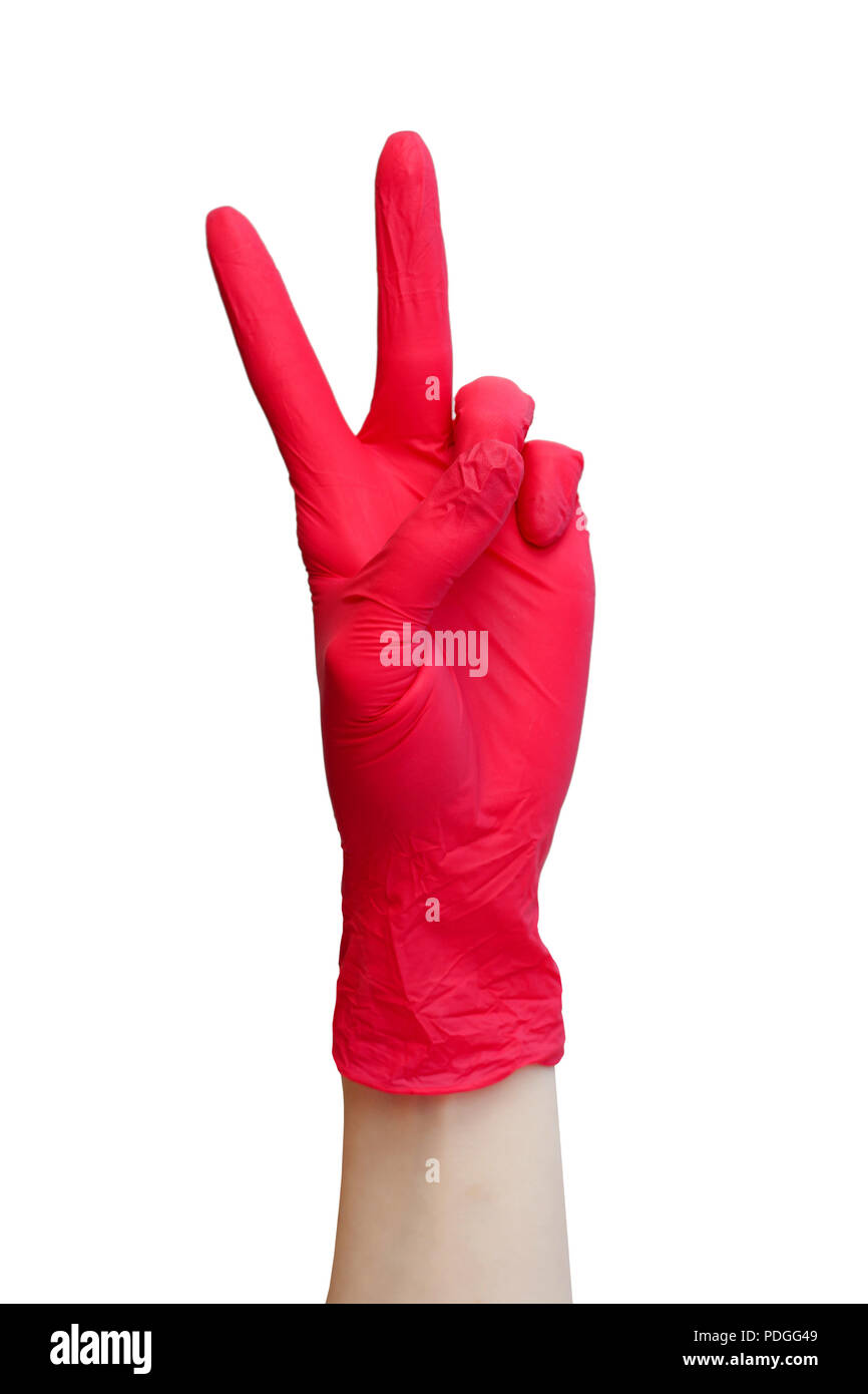 Sign made of red medical gloves. Fingers symbol twoe. Isolated on white. Healthy, vitamins, vaccination, afraid of injections, medical store, pharmacy - Stock Image