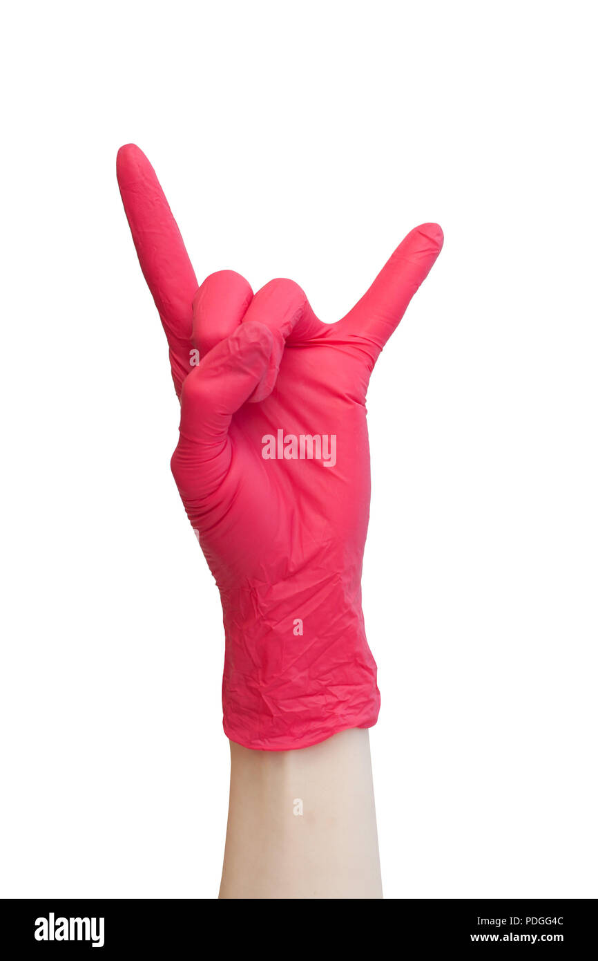 Rock sign made of red medical gloves. Fingers showing rock n roll symbol. Healthy, vitamins, vaccination, afraid of injections, medical store, pharmac - Stock Image