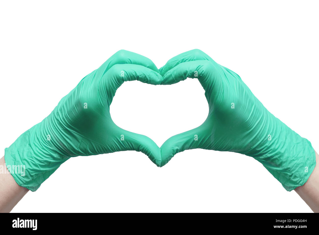 Heart made of green medical gloves, Healthy lifestyle, benefits of vitamins, vaccination, afraid of injections, medical store, pharmacy, presentation, Stock Photo