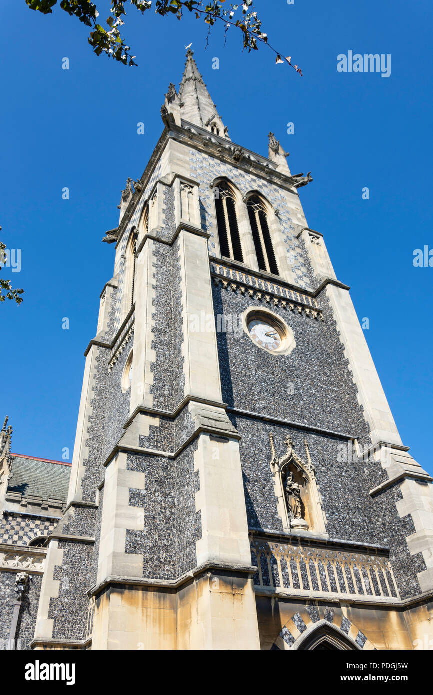 St Mary-le-Tower Church spire, Tower Street, Ipswich, Suffolk, England, United Kingdom - Stock Image