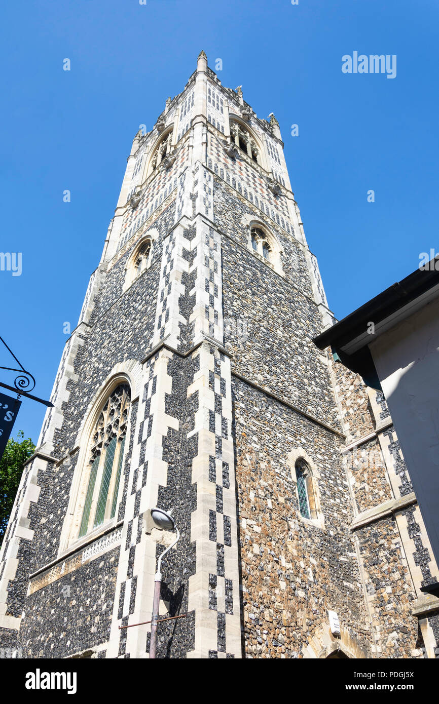 Tower of St Lawrence Church, Dial Lane, Ipswich, Suffolk, England, United Kingdom - Stock Image