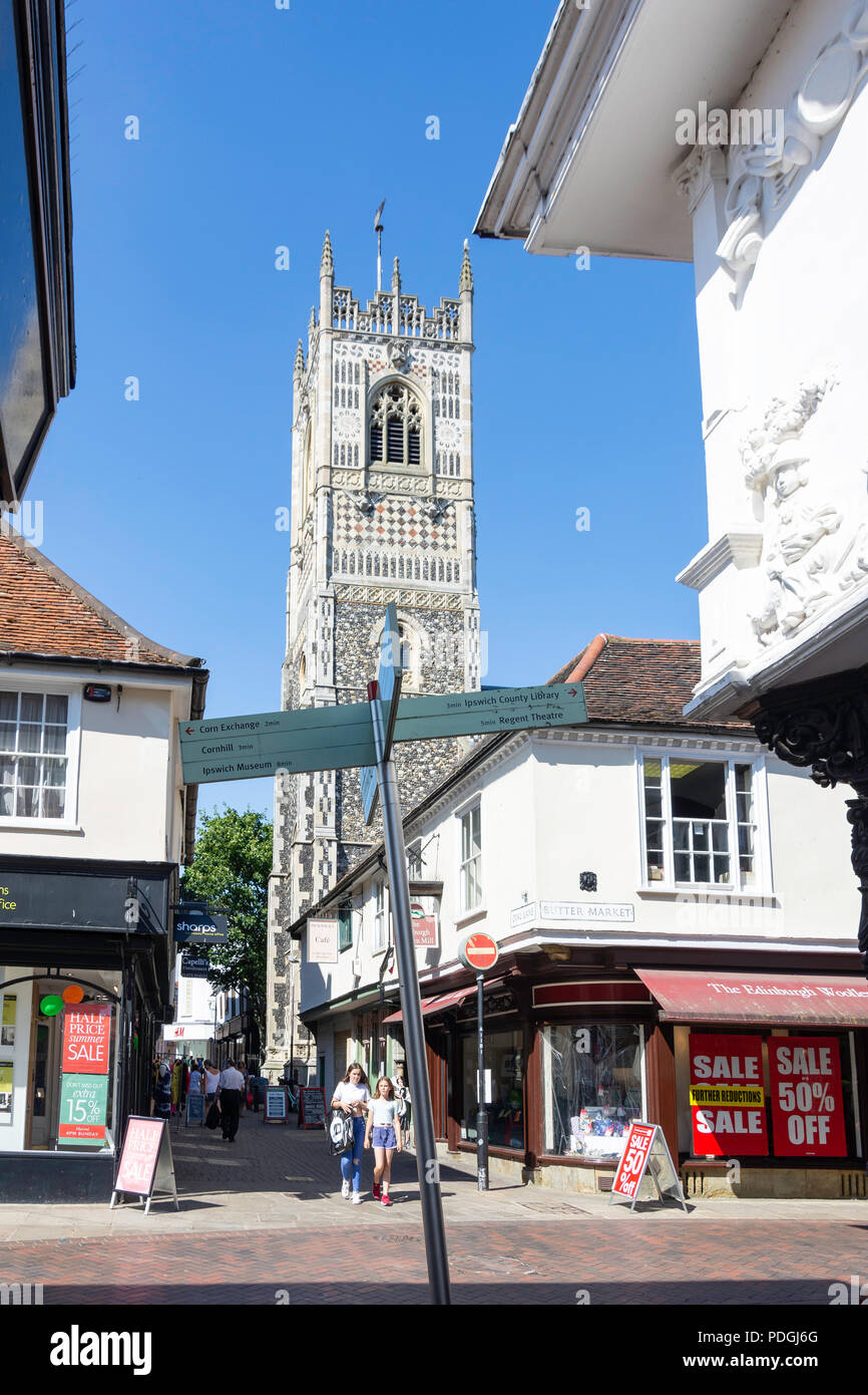 Tower of St Lawrence Church from Buttermarket, Ipswich, Suffolk, England, United Kingdom - Stock Image