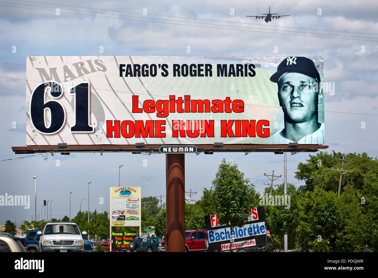 Billboard in Fargo, North Dakota honoring Fargo's native son and New York Yankees slugger as being the legitimate home run king with 61 home runs in 1 - Stock Image