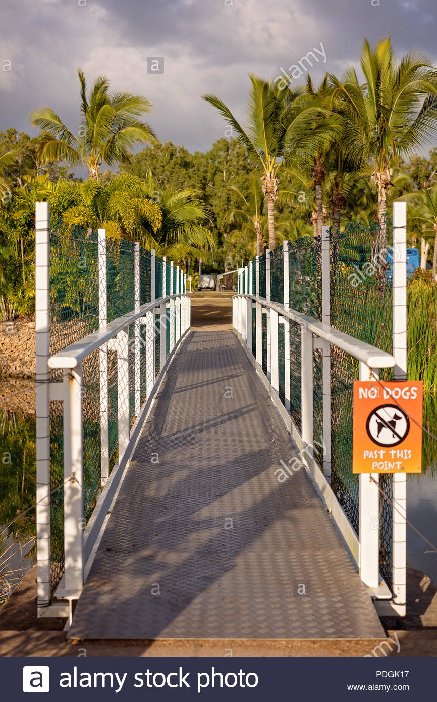 Sign prohibiting dogs from crossing a bridge over a lake in a van parkbridge - Stock Image