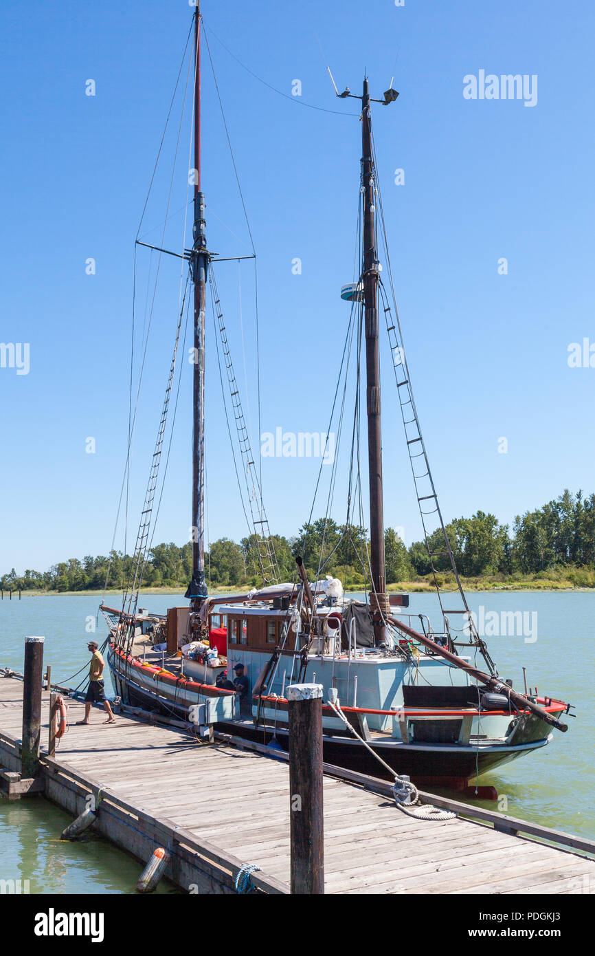 A Ketch docked at the historic Britannia Ship Yard in Steveston, British Columbia - Stock Image